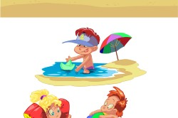 free-vector-cartoon-children-summer-beach-vector_094358_01